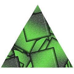 Binary Digitization Null Green Wooden Puzzle Triangle