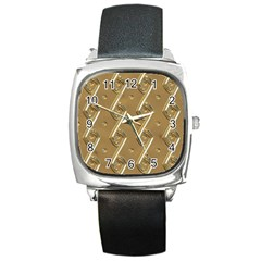 Gold Background 3d Square Metal Watch