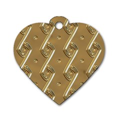 Gold Background 3d Dog Tag Heart (two Sides)