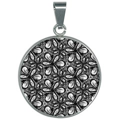 Fabric Pattern Sunflower 30mm Round Necklace