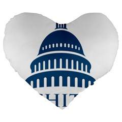 Logo Of United States Architect Of The Capitol Large 19  Premium Flano Heart Shape Cushions by abbeyz71