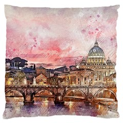 City Buildings Bridge Water River Standard Flano Cushion Case (one Side) by Simbadda