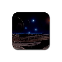 Lunar Landscape Star Brown Dwarf Rubber Coaster (square)  by Simbadda