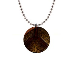 Vault Mosaic Gold Ornament Golden 1  Button Necklace by Simbadda