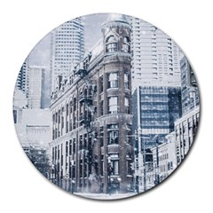 City Building Skyscraper Town Round Mousepads
