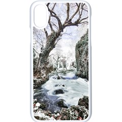 Tree Waterfall Landscape Nature Iphone Xs Seamless Case (white)