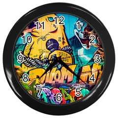 Graffiti Street Art Mountains Wall Wall Clock (black)