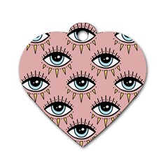 Eyes Pattern Dog Tag Heart (one Side)