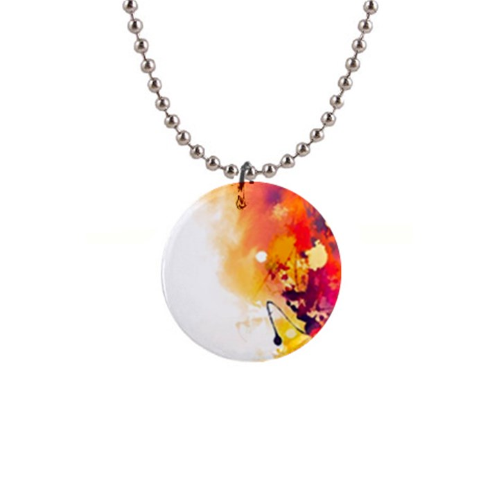 Autumn paint 1  Button Necklace