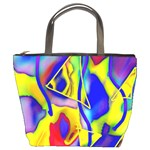 Yellow triangles abstract Bucket Bag Front