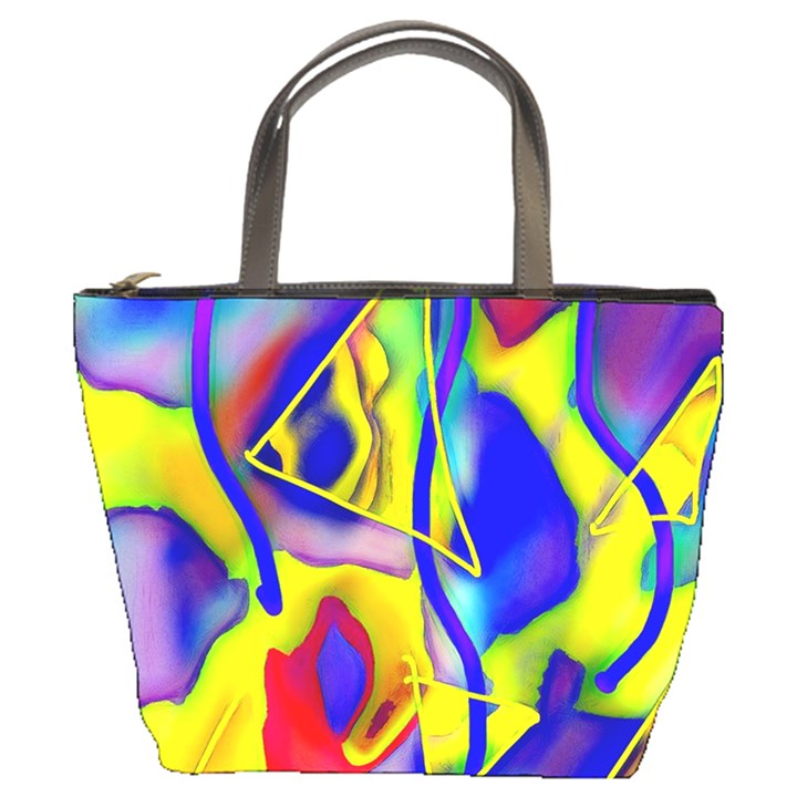 Yellow triangles abstract Bucket Bag