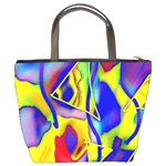 Yellow triangles abstract Bucket Bag Back