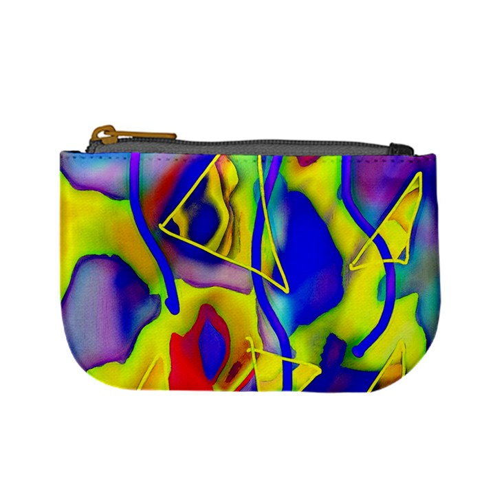 Yellow triangles abstract Mini Coin Purse