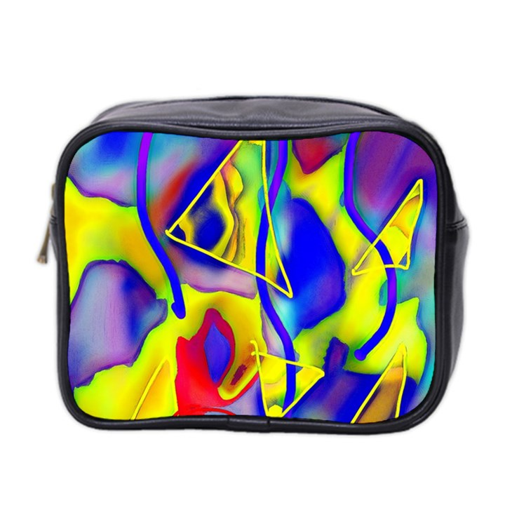 Yellow triangles abstract Mini Toiletries Bag (Two Sides)