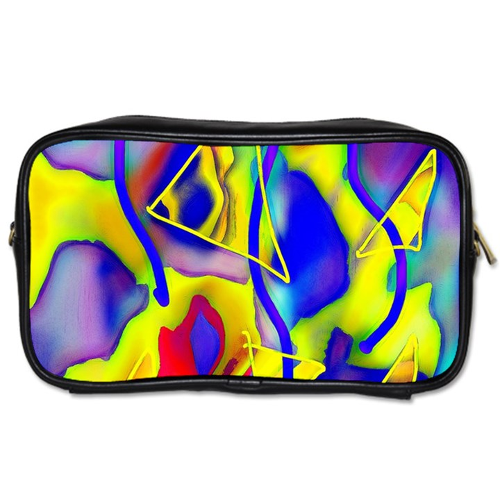 Yellow triangles abstract Toiletries Bag (One Side)