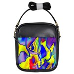 Yellow triangles abstract Girls Sling Bag Front