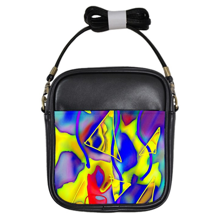 Yellow triangles abstract Girls Sling Bag