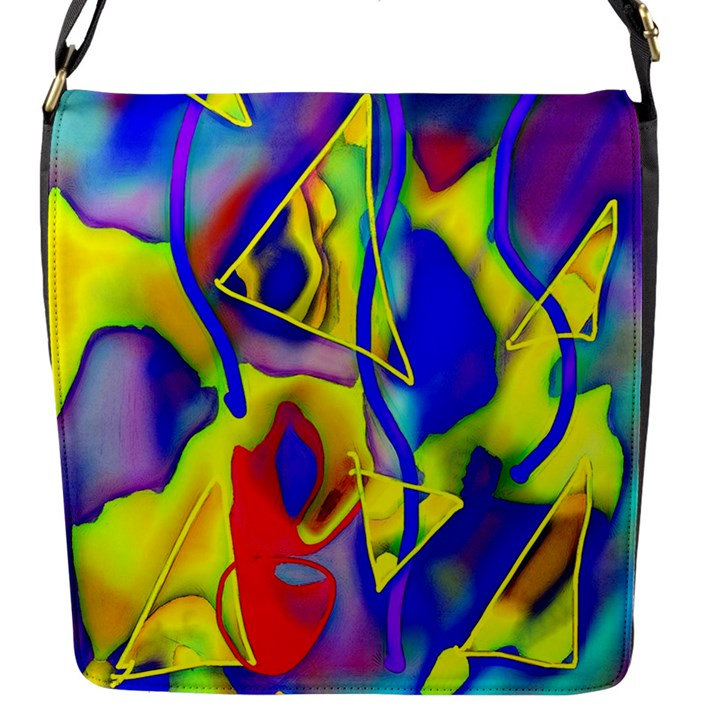 Yellow triangles abstract Flap Closure Messenger Bag (S)