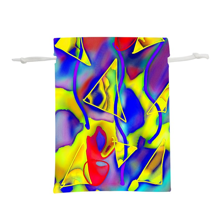 Yellow triangles abstract Lightweight Drawstring Pouch (M)