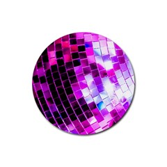 Purple Disco Ball Rubber Coaster (round)  by essentialimage