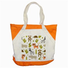 Cute Safari Animals Seamless Pattern Accent Tote Bag by Vaneshart