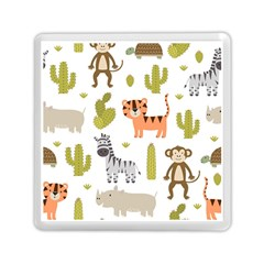 Cute Safari Animals Seamless Pattern Memory Card Reader (square) by Vaneshart