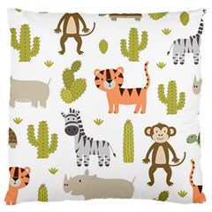 Cute Safari Animals Seamless Pattern Large Cushion Case (two Sides) by Vaneshart