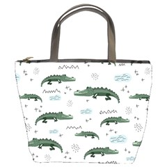 Vector Seamless Pattern With Cute Crocodiles Bucket Bag