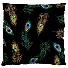 Seamless Pattern With Peacock Feather Large Cushion Case (one Side) by Vaneshart