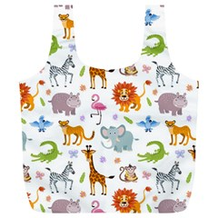 Children Seamless Wallpaper With Cute Funny Baby Savanna Animals Full Print Recycle Bag (xl)