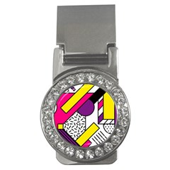 Memphis Colorful Background With Stroke Money Clips (cz)