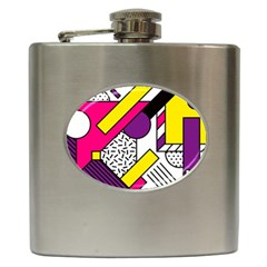 Memphis Colorful Background With Stroke Hip Flask (6 Oz)