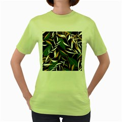Summer Trend Seamless Background With Bright Tropical Leaves Plants Women s Green T-shirt by Vaneshart