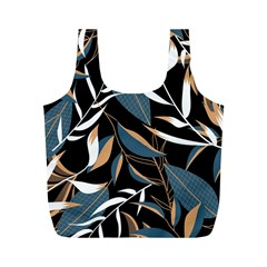 Summer Trend Seamless Background With Bright Tropical Leaves Plants Full Print Recycle Bag (m) by Vaneshart