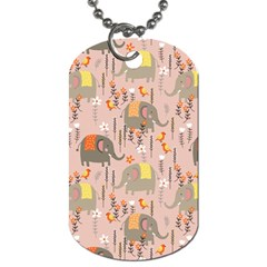 Cute Elephant Wild Flower Field Seamless Pattern Dog Tag (two Sides)