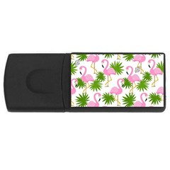 Seamless Pattern With Cute Flamingos Rectangular Usb Flash Drive