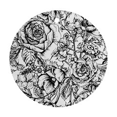 Vintage Floral Vector Seamless Pattern With Roses Round Ornament (two Sides)