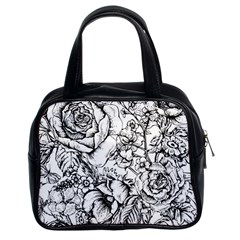 Vintage Floral Vector Seamless Pattern With Roses Classic Handbag (two Sides)