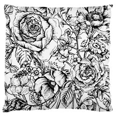 Vintage Floral Vector Seamless Pattern With Roses Large Cushion Case (one Side) by Vaneshart