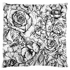 Vintage Floral Vector Seamless Pattern With Roses Large Flano Cushion Case (one Side) by Vaneshart