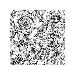 Vintage Floral Vector Seamless Pattern With Roses Small Satin Scarf (square)