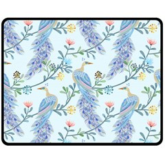 Beautiful Peacock Seamless Pattern Double Sided Fleece Blanket (medium)