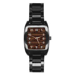 Colorful Bright Ethnic Seamless Striped Pattern Background Orange Black Colors Stainless Steel Barrel Watch