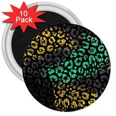 Abstract Geometric Seamless Pattern With Animal Print 3  Magnets (10 Pack)
