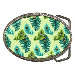 Peacock Feather Pattern Belt Buckles