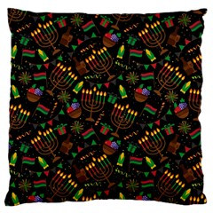 Seamless Pattern Kwanzaa With Traditional Colored Candles Large Cushion Case (two Sides)