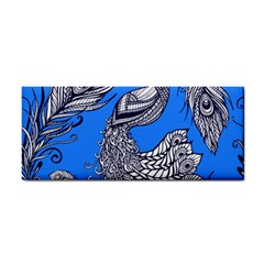 Peacock Bird Feathers Seamless Background Pattern Hand Towel