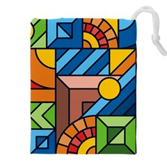 Colorful Geometric Mosaic Background Drawstring Pouch (xxxl)