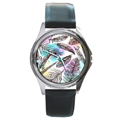 Hand Drawn Feathers Seamless Pattern Round Metal Watch