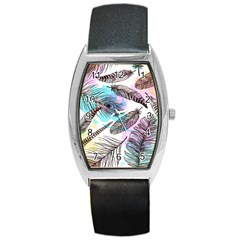 Hand Drawn Feathers Seamless Pattern Barrel Style Metal Watch